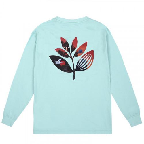 Magenta Surreal Plant L/S Tee Aqua Green