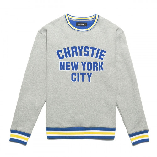 Chrystie NYC Varsity Logo Crewneck Ash Grey
