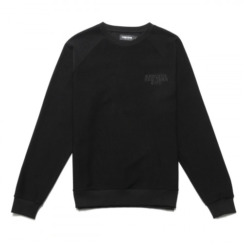Chrystie NYC Reversed French Terry Crewneck Black