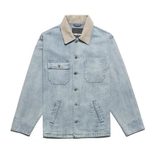 Chrystie NYC Chain Stitch Embroidery Logo Denim Jacket