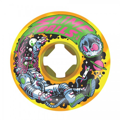 Slime Balls Wheels Astros Speed Balls Orange Yellow Swirl 99A 56mm