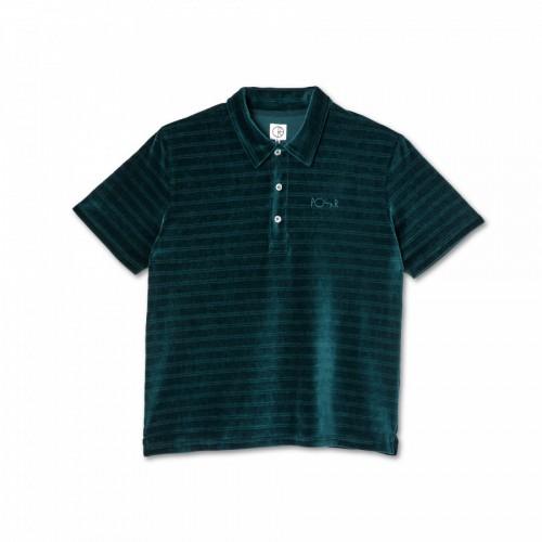 Polar Skate Co Stripe Velour Polo Shirt Dark Green